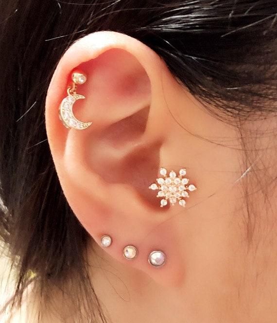 3 Size Dot Piercing Cartilage Earringcz Stud Ear Etsy