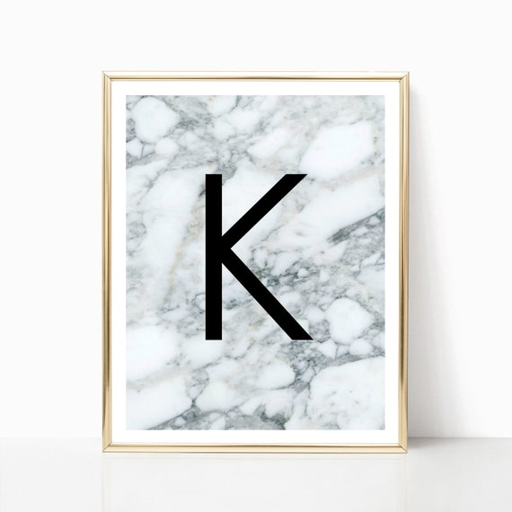 Letter K Print Marble Wall Art Typography Print Letter Wall Etsy