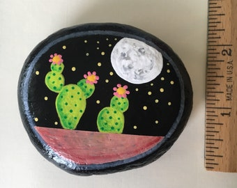 Full Moon Cactus Night Prayer Rock