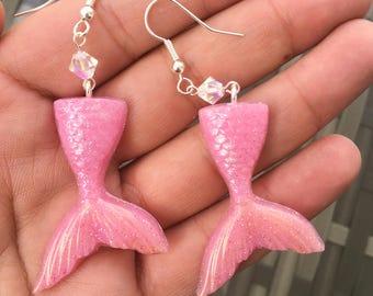 Sweet Pink Mermaid Tail Earrings