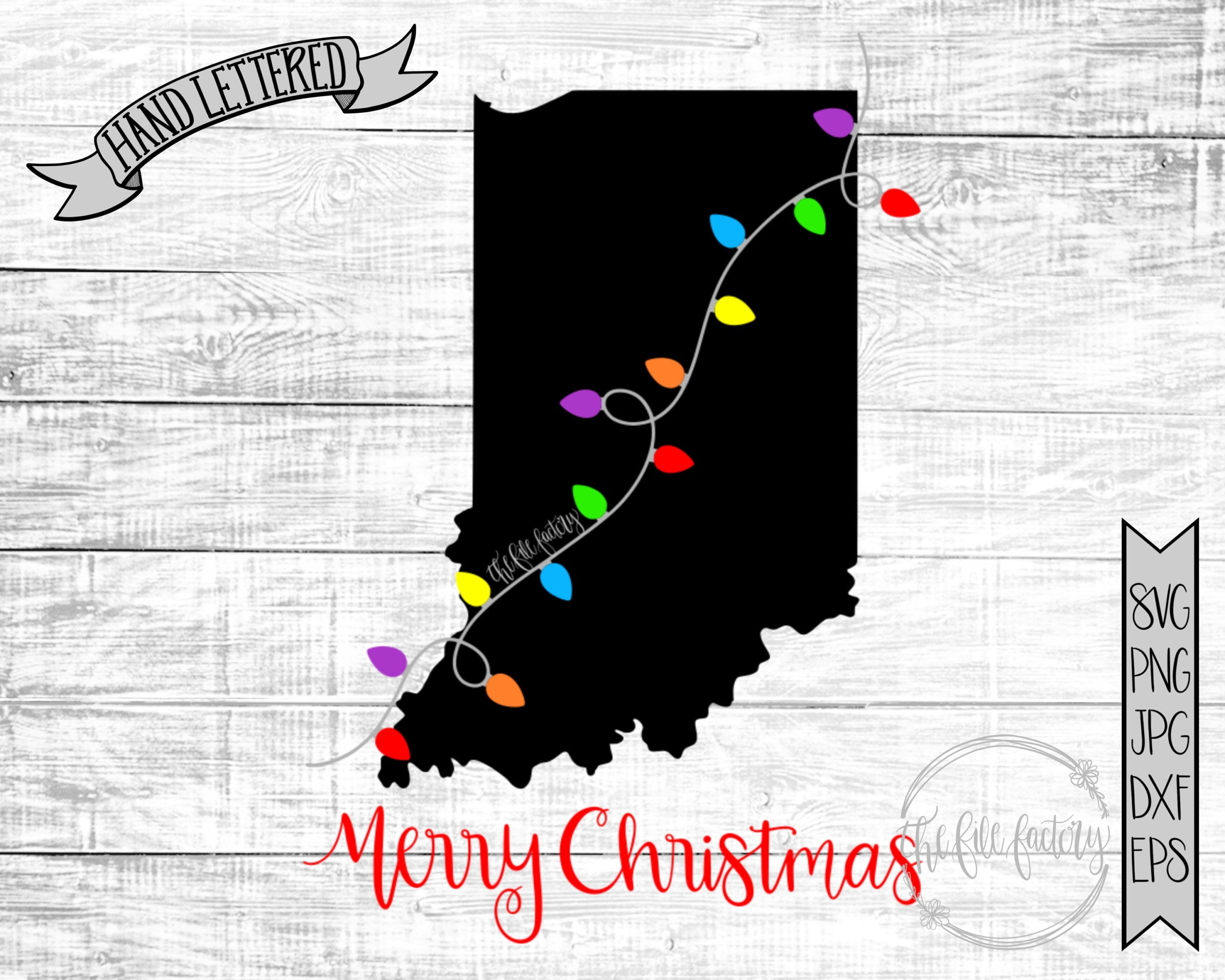 Merry Christmas Indiana Christmas Lights SVG / Merry Christmas | Etsy