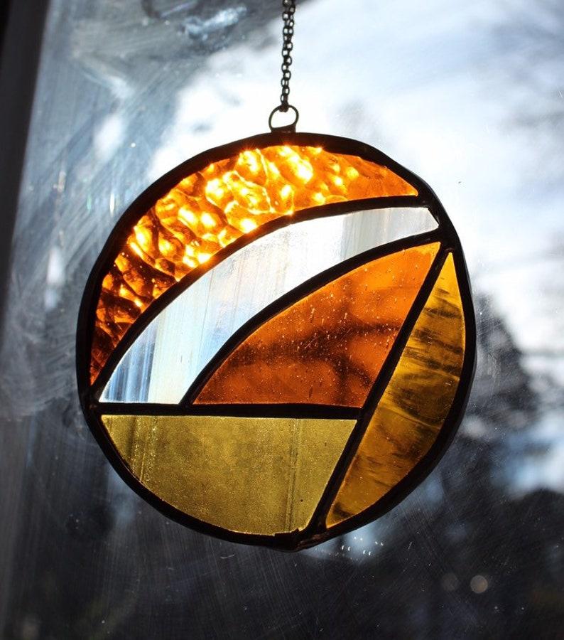 Mini amber stained glass suncatcher