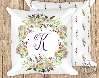 Letter Pillow, Initial Pillow, Personalized Gift, Floral Pillow, Monogrammed Pillow, Initial Cushion, Pillow With Initial, Custom Pillow