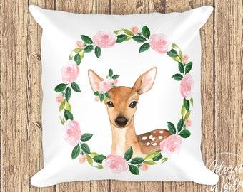Deer Pillow, Woodland Nursery, Woodland Animal, Woodland Pillow, Deer Pillow Cover, Deer Pillow Case, Woodland Cushion, Whimsical Nursery