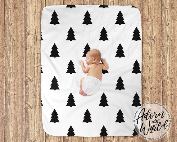 Monochrome Baby Bedding Crib Blanket Scandinavian Baby Blanket Black and White Gender Neutral Scandi Blankets Modern Baby Blanket