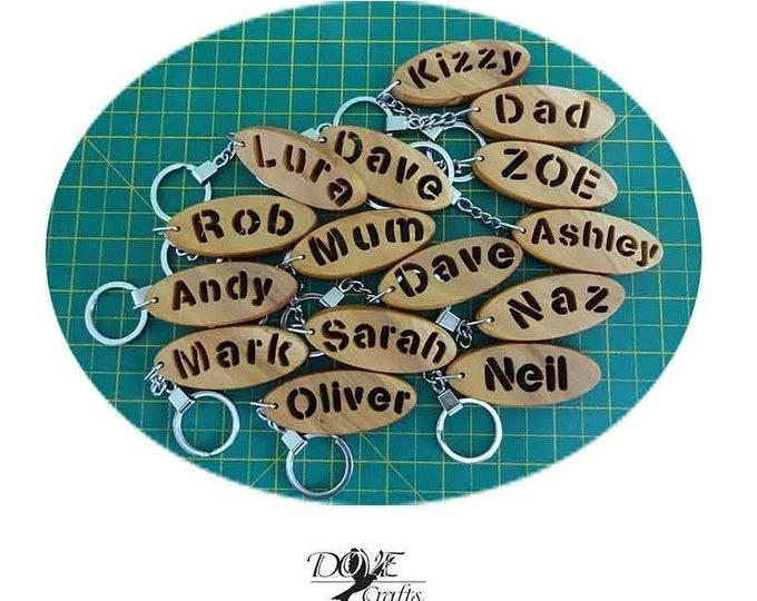 Name Keyring Carved through Olive wood