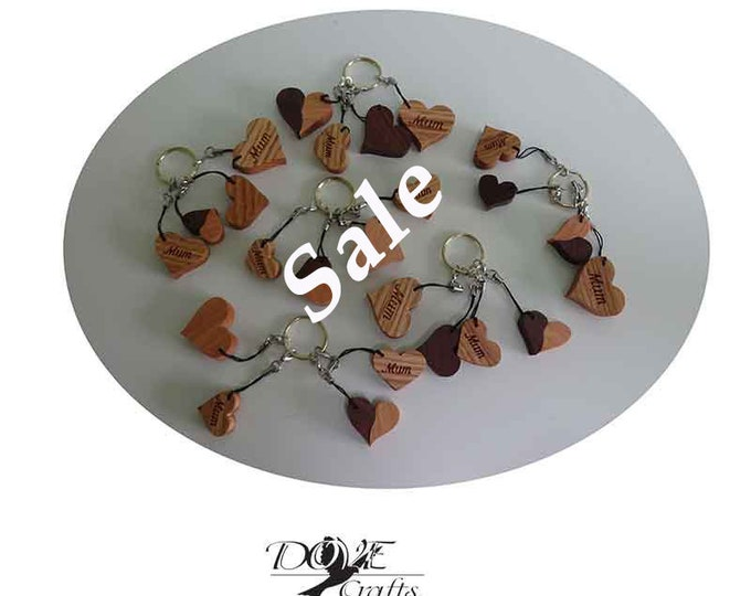 Love Heart Keyring MUM Hard wood (Sale)