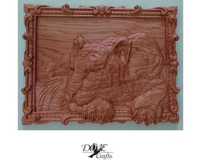 Dogs and Animals Wood Carving on Oak wood Art Carving
