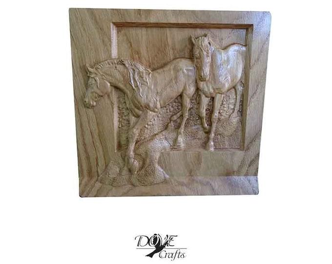Horses Carved on Oak wood Art Carving