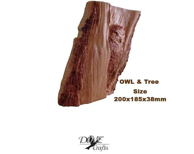 Owl and Birds Carving on Oak Art Carving