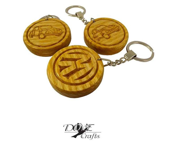 VW wooden car keyring