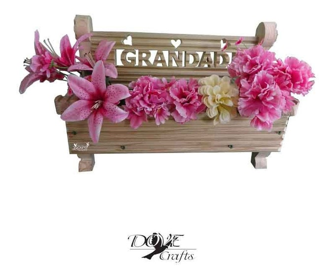 Bench Planter with carving, Hand Crafted
