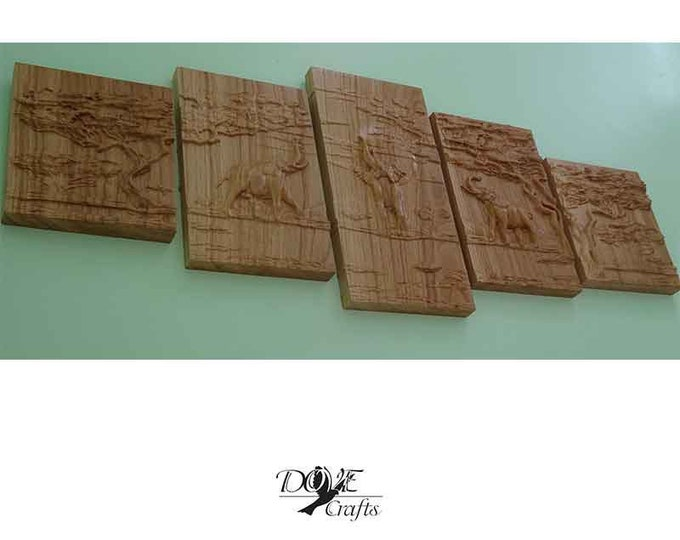 Elephant family Carved Plaque on Oak Art Of Carving