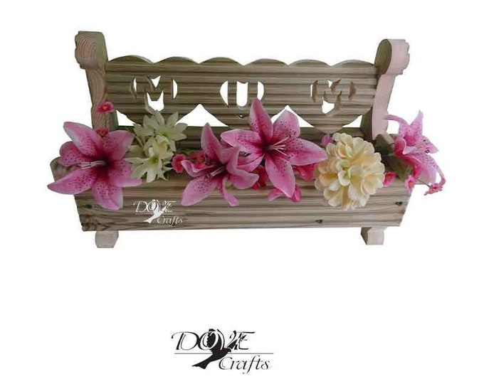 Love Heart Bench Planter MUM/DAD-pre-treated decking wood, Hand Crafted