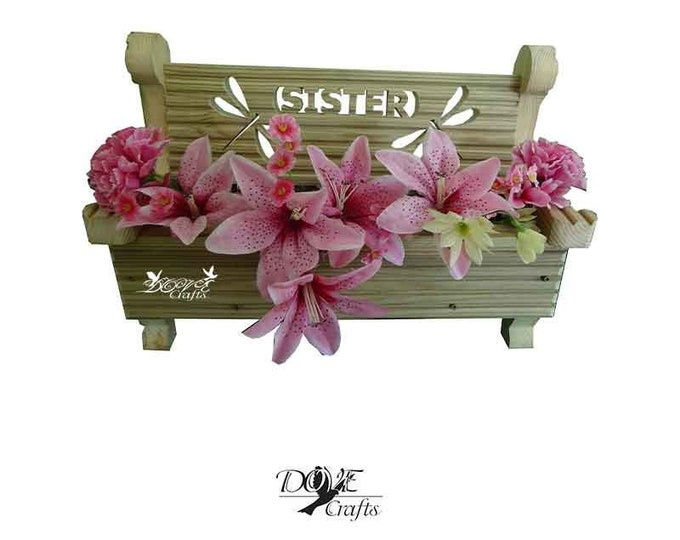 Bench Planter Personalised with your choice of Symbols, Hand Crafted
