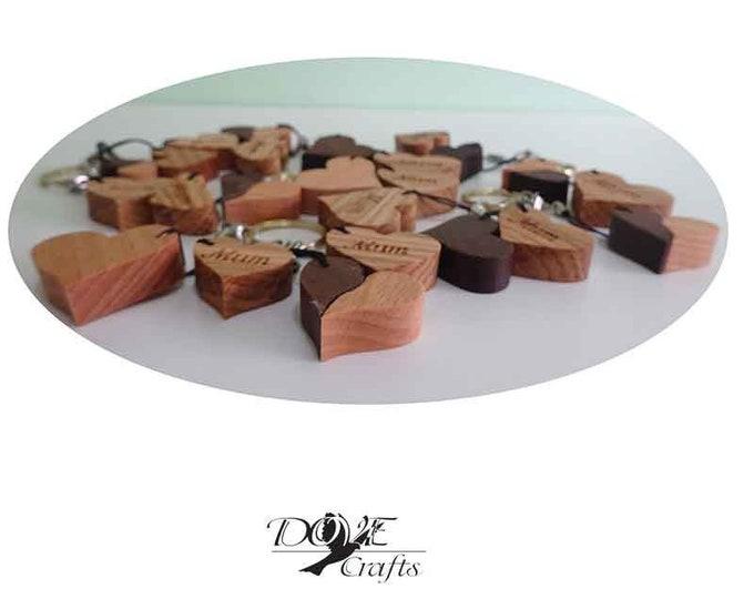 Love Heart Keyring Hard wood