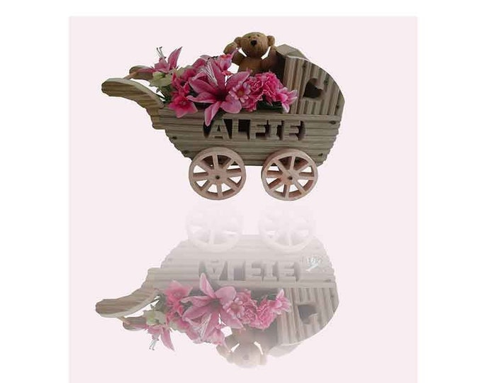 Pram planter with personalisation, Hand Crafted