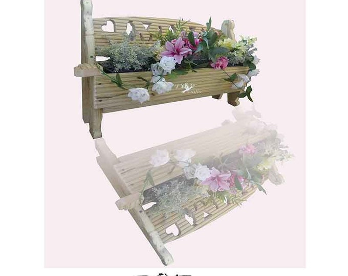 Bench Planter with carving Large, Hand Crafted