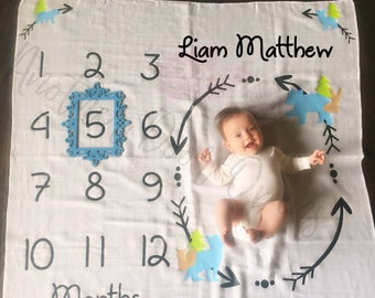 Month to Month Baby Blanket, Baby Boy Milestones, Monthly Baby Pictures, Baby Boy Blanket, Baby Growth Chart