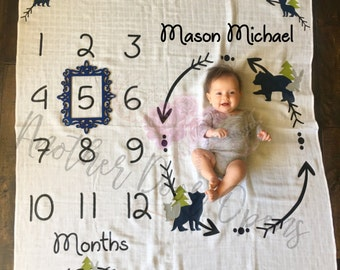 Month to Month Baby Blanket, Baby Boy Milestones, Monthly Baby Pictures, Baby Boy Blanket, Baby Growth Chart, Woodland Animals