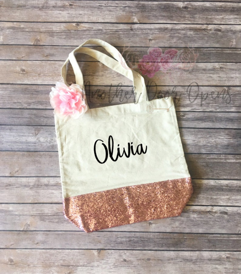 62224cbbb Canvas Tote Glitter Tote Personalized Bag Rose Gold | Etsy