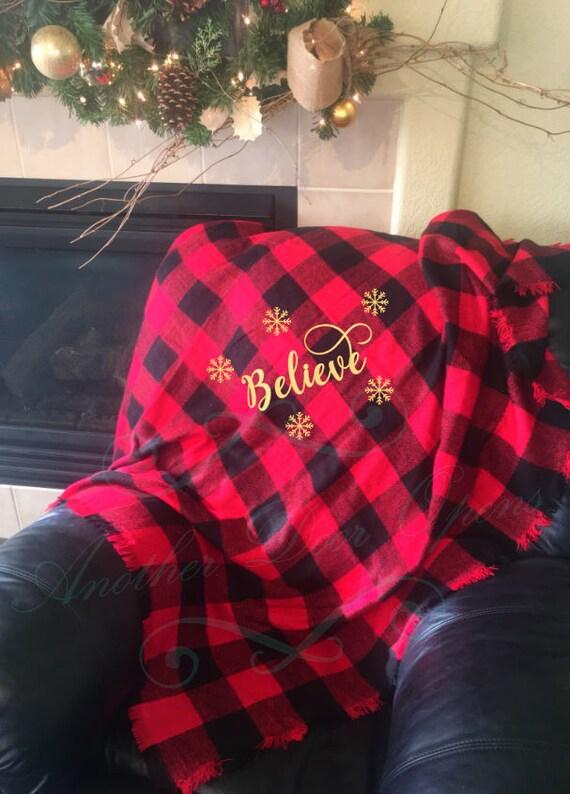 Christmas Throw Blanket.Buffalo Plaid Christmas Throw Blanket Holiday Decor Believe Snowflakes