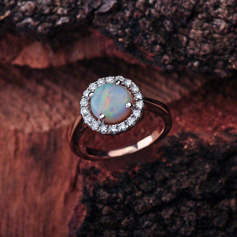 Opal Engagement Ring Rose Gold Opal Rose Gold Engagement image 0