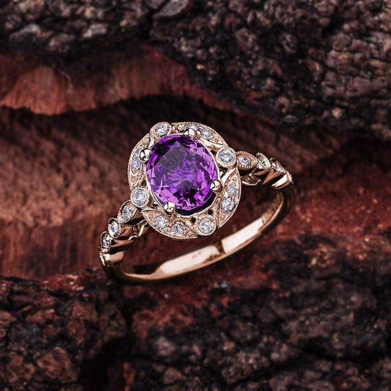 18K Or Rose sur Argent 925 Améthyste /& Diamant Accent Ring Taille 8