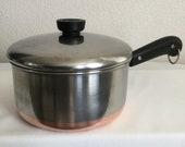 Pre-1968 Double Ring Revere Ware 2 Quart Saucepan Pot w Lid Copper Clad Bottom