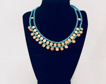 Turquoise Gold Coin Necklace Blue Stone Beads Bohemian Tribal Style