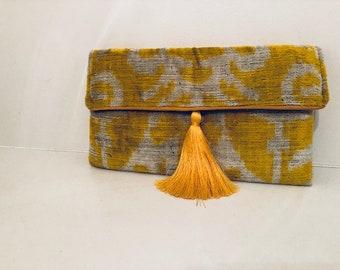 Handmade Clutch with Yellow Tassel, Tribal Gypsy Ethnic Design