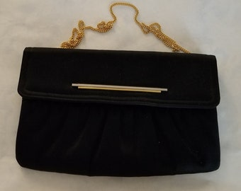 a0ff0bd72d Lovely Neusteters Black Purse   Clutch   Shoulder Evening Bag w Gold Chain  and Accents - Excellent Condition