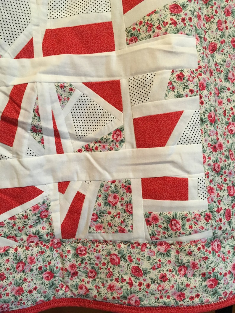 White and Polka Dot patchwork throw quilt Floral Freeform Red