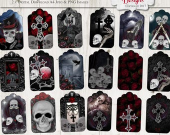 Gothic Rose Tags, 18 x Printable Tags, Digital tags, Gothic Tags, Gothic Stationary, Gothic Art, Vintage Gothic, Instant download