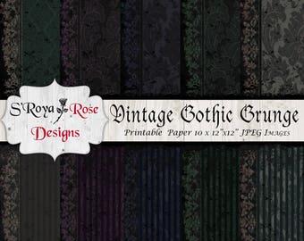 Vintage Gothic Grunge, Digital Paper, Craft Supplies & Tools,  scrapbooking, printable paper,  elegant  black,  gothic grunge, vintage paper