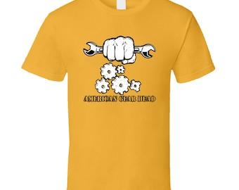 American Gear Head Men's Gold Short Sleeve T Shirt
