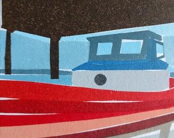 Tiny boat art, Nautical painting, Small art painting, Small wall art original, boat painting gift,  Astoria Oregon, Astoria painting
