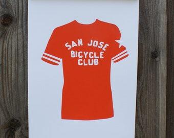 San Jose bicycle poster, Vintage bicycle jersey poster, bicycle wall art, bicycle print, San Jose history poster, Hand printed poster