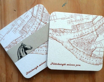 Pittsburgh coasters, Pittsburgh Misses You, paper coasters, Pittsburgh souvenir, Vintage map coasters, Pittsburgh maps, old pittsburgh maps