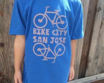 Kids tshirt, San Jose shirt, San Jose kids shirt, Bicycle shirt, San Jose Bicycle, Bicycle kids shirt, Handmade shirt