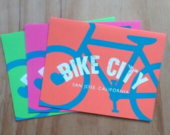 San Jose, San Jose card, bicycle card, San Jose bicycle, silkscreen card, handmade card