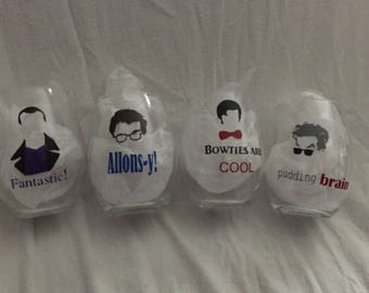 Set of 4 Doctor Who Wine Glasses
