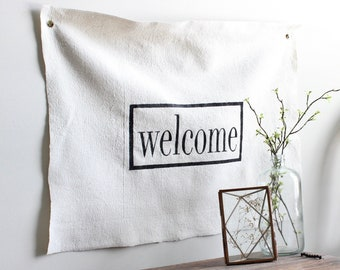 Welcome Canvas Wall Sign, Fabric Wall Flag, Hand Painted Wall Hanging