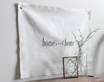 Home Sweet Home Canvas Wall Sign, Fabric Wall Flag, Hand Painted Wall Hanging