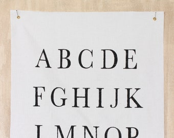 Alphabet Canvas Wall Sign, Nursery Fabric Wall Flag, Hand Painted Vintage ABCs Wall Hanging