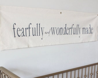 Fearfully and Wonderfully Made Canvas Wall Sign, Nursery Fabric Wall Flag, Hand Painted Wall Hanging
