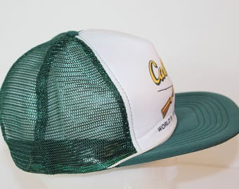 4fabc4c70ec Vintage Cabela s Cabelas Adjustable Snapback Snap Back Mesh Trucker Baseball  Style Hat 1990s Outfitter Green White Cap