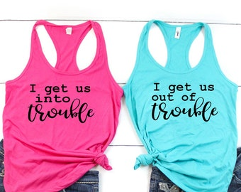 052a10b7892be3 Best Friend Shirt Set - Trouble Shirts - Friend Shirts - Funny Best Friend  Shirts - Best Friends - Matching Tank tops - Friend Tank tops