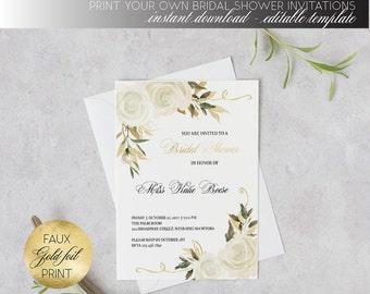 white roses bridal shower invitation template instant download editable pdf printable invitation bridal shower invite floral two w703