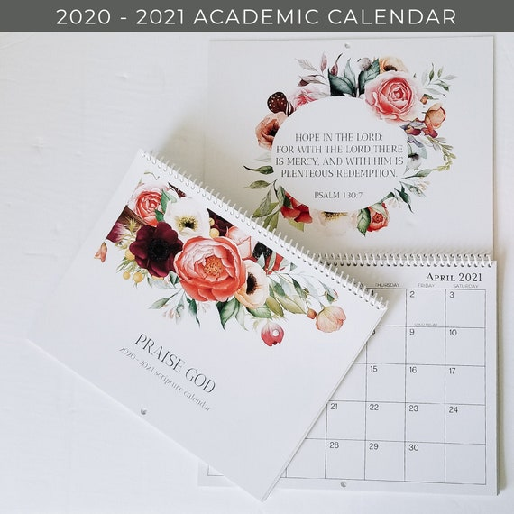 School year calendar 2020 2021 academic calendar Flower | Etsy